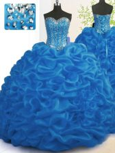 Trendy Organza Sweetheart Sleeveless Brush Train Lace Up Beading and Ruffles Quinceanera Gowns in Royal Blue