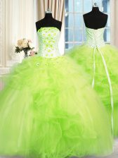 Floor Length Lace Up Quinceanera Gowns for Military Ball and Sweet 16 and Quinceanera with Beading and Ruffles