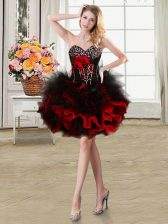 Red Sweetheart Lace Up Beading and Ruffles and Hand Made Flower Homecoming Dress Sleeveless