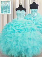 Affordable Visible Boning Baby Blue Ball Gowns Organza Sweetheart Sleeveless Beading and Ruffles and Pick Ups Floor Length Lace Up Sweet 16 Dresses