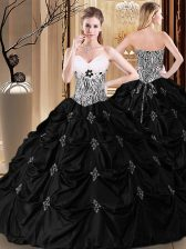 New Arrival Taffeta Sweetheart Sleeveless Lace Up Appliques and Pick Ups and Pattern Sweet 16 Dresses in Black