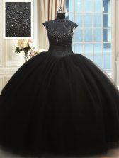 Cheap Black Ball Gowns High-neck Cap Sleeves Tulle Floor Length Zipper Beading Sweet 16 Dresses