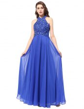 Exceptional Halter Top Sleeveless Backless Prom Dress Blue Chiffon