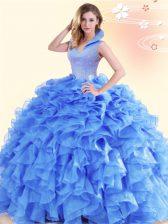 Excellent Ball Gowns Sweet 16 Dress Blue High-neck Organza Sleeveless Floor Length Backless