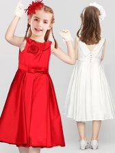 Smart Clasp Handle Scoop Sleeveless Toddler Flower Girl Dress Tea Length Bowknot and Hand Made Flower Red Satin