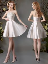 Sleeveless Satin Mini Length Lace Up Quinceanera Court Dresses in Champagne with Appliques and Bowknot