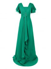 Customized Short Sleeves Chiffon With Train Sweep Train Zipper Homecoming Dress in Green with Beading and Ruching