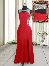 Eye-catching Scoop Sleeveless Beading Backless Homecoming Dress with Red Brush Train