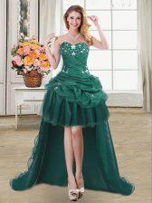Pick Ups Sweetheart Sleeveless Lace Up Homecoming Dress Dark Green Organza