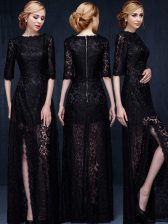 On Sale Scoop Black Lace Zipper Dress for Prom Half Sleeves Floor Length Lace