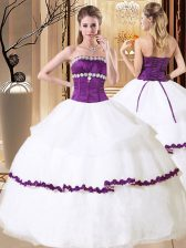 White Ball Gowns Strapless Sleeveless Organza Floor Length Lace Up Beading and Embroidery and Ruffled Layers Sweet 16 Dresses