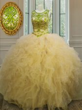 Sexy Scoop Light Yellow Ball Gowns Beading and Ruffles Ball Gown Prom Dress Lace Up Tulle Sleeveless Floor Length