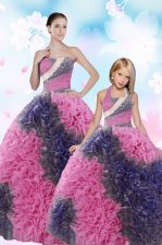 Nice Multi-color Vestidos de Quinceanera Military Ball and Sweet 16 and Quinceanera with Sequins and Pick Ups Sweetheart Sleeveless Lace Up