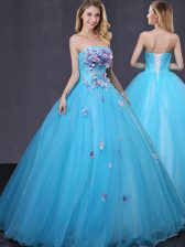 Latest Sleeveless Lace Up Floor Length Appliques Quinceanera Gowns