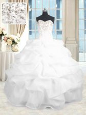 Comfortable Floor Length Lace Up 15 Quinceanera Dress White for Military Ball and Sweet 16 and Quinceanera with Beading and Ruffles