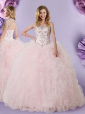 Scoop Baby Pink Sleeveless Floor Length Lace Lace Up Quinceanera Dress
