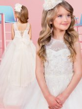 Luxurious Scoop White Sleeveless With Train Appliques and Bowknot Lace Up Flower Girl Dresses