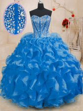 Sleeveless Beading and Ruffles Lace Up Vestidos de Quinceanera