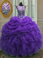 Scoop Purple Sleeveless Floor Length Beading and Ruffles and Pick Ups Lace Up 15 Quinceanera Dress