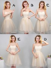 Off the Shoulder Mini Length A-line Sleeveless Champagne Quinceanera Court Dresses Lace Up