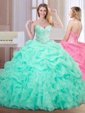 Custom Fit Sweetheart Sleeveless Sweet 16 Dress Floor Length Beading and Ruffles and Pick Ups Apple Green Organza