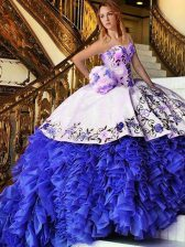 Blue And White Ball Gowns Appliques and Embroidery Sweet 16 Quinceanera Dress Lace Up Organza Sleeveless Floor Length