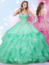 Apple Green Lace Up Sweetheart Beading and Ruffles Quince Ball Gowns Organza Sleeveless