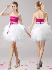 Luxurious Pink And White Strapless Lace Up Ruffles and Bowknot Prom Party Dress Sleeveless