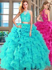 Stunning Scoop Aqua Blue Sleeveless Appliques and Ruffles Floor Length 15 Quinceanera Dress