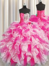 Affordable Sweetheart Sleeveless Organza Quinceanera Gown Beading and Ruffles and Ruching Lace Up