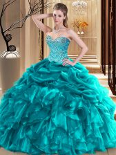 Chic Organza Sweetheart Sleeveless Lace Up Beading and Pick Ups Quinceanera Gown in Teal