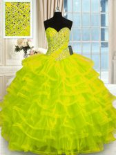 Captivating Sleeveless Floor Length Beading and Ruffled Layers Lace Up Quince Ball Gowns with Yellow Green