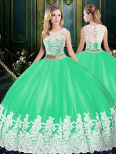 Scoop Floor Length Zipper Quinceanera Dress Apple Green for Military Ball and Sweet 16 and Quinceanera with Lace and Appliques