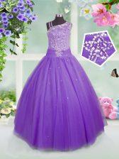 Lavender Asymmetric Side Zipper Beading Little Girl Pageant Gowns Sleeveless