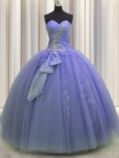 Latest Lavender Sweetheart Lace Up Beading and Sequins and Bowknot Sweet 16 Quinceanera Dress Sleeveless