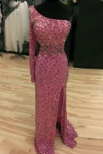 Mermaid One Shoulder Long Sleeves Sequined Prom Evening Gown Sequins Sweep Train Backless