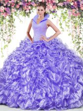 Ideal Lavender Backless High-neck Beading and Ruffles Sweet 16 Quinceanera Dress Organza Sleeveless