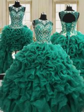 Four Piece Scoop Sleeveless Quinceanera Dresses Floor Length Beading and Ruffles Dark Green Organza