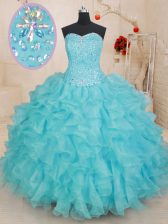Customized Aqua Blue Quinceanera Gowns Military Ball and Sweet 16 and Quinceanera with Beading and Ruffles Sweetheart Sleeveless Lace Up