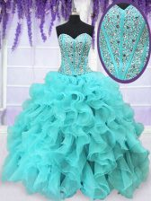 Designer Aqua Blue Sleeveless Beading and Ruffles Floor Length Quince Ball Gowns