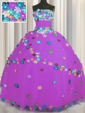 Customized Lilac Sleeveless Tulle Lace Up Ball Gown Prom Dress for Military Ball and Sweet 16 and Quinceanera