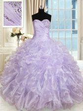 Luxurious Beading and Ruffles 15 Quinceanera Dress Lavender Lace Up Sleeveless Floor Length