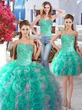 Three Piece White and Turquoise Quinceanera Dresses Sweetheart Sleeveless Lace Up