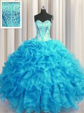 Beauteous Visible Boning Bling-bling Sleeveless Lace Up Floor Length Beading and Ruffles Quinceanera Gown