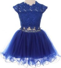 Fitting Scoop Blue Cap Sleeves Mini Length Beading and Lace Zipper Flower Girl Dresses