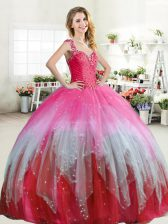 Straps Ruffled Floor Length Ball Gowns Sleeveless Multi-color Quinceanera Gowns Zipper