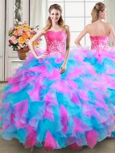 Custom Design Multi-color Ball Gown Prom Dress Military Ball and Sweet 16 and Quinceanera with Beading and Ruffles Sweetheart Sleeveless Zipper