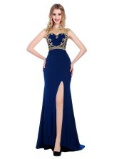 Top Selling Navy Blue Sleeveless Silk Like Satin Sweep Train Zipper for Prom and Party