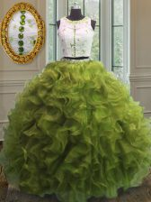 Fashion Scoop Olive Green Ball Gowns Appliques and Ruffles Vestidos de Quinceanera Clasp Handle Organza Sleeveless Floor Length