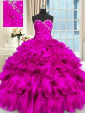 Organza Sweetheart Sleeveless Lace Up Beading and Ruffles Sweet 16 Quinceanera Dress in Fuchsia